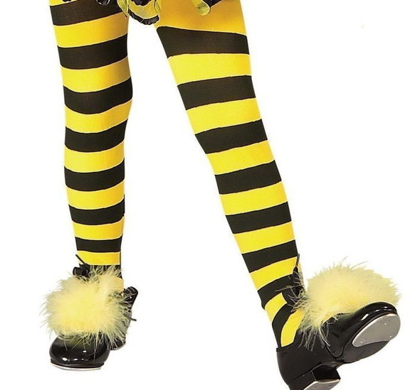 Bumble Bee Yellow Black Striped Tights Girl's Large Halloween Costume Accessory