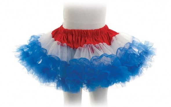 "Red White Blue Tutu Skirt 4th Of July Ballerina Girls Child Crinoline 22"" Waist"