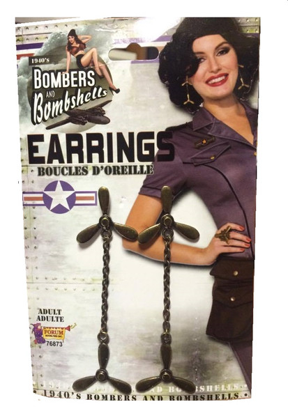 1940's Bombers and Bombshells Propeller Earrings Womens WW2 Costume Jewelry