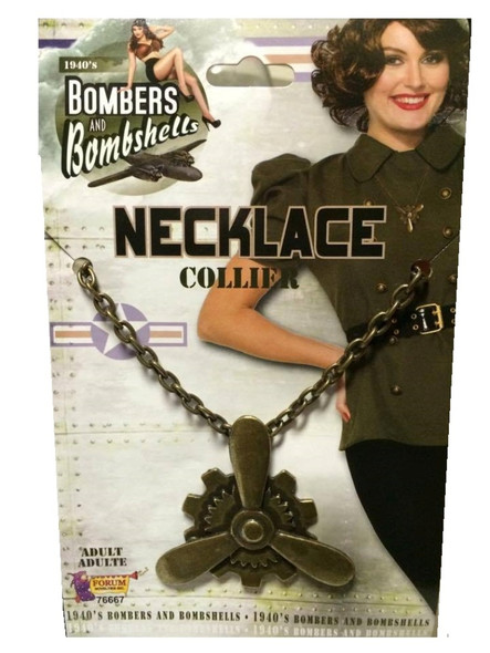 1940's Bombers and Bombshells Propeller Necklace Womens WW2 Costume Jewelry