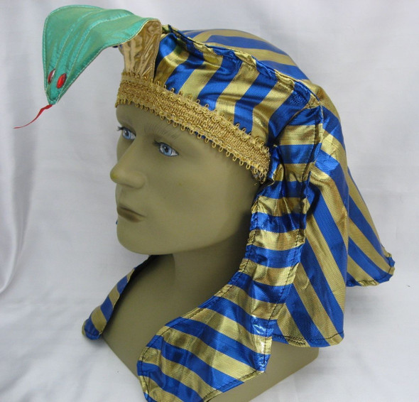 Blue Gold Pharaoh Hat King Tut Egyptian Roman Greek Men Costume Accessory Easter