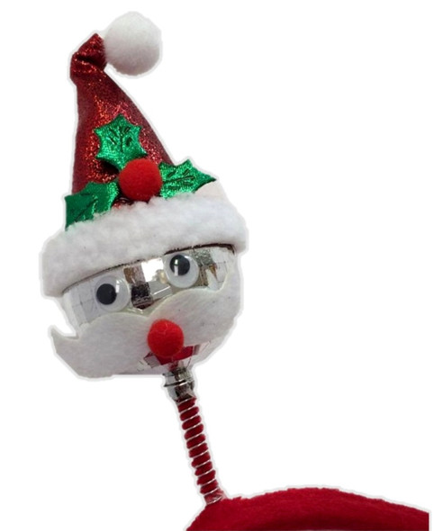 Santa Claus Disco Ball Bopper Headband & Bowtie Christmas Costume Accessory