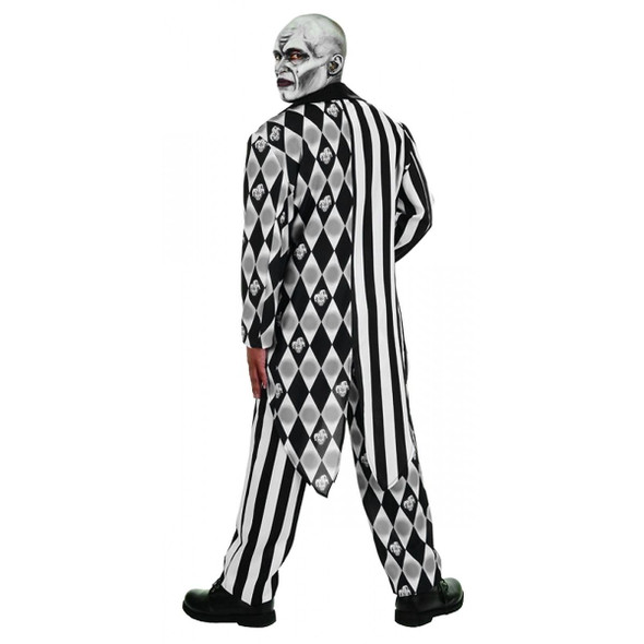 The Jester Scary Evil Killer Clown Teen Halloween Costume Black White Tuxedo