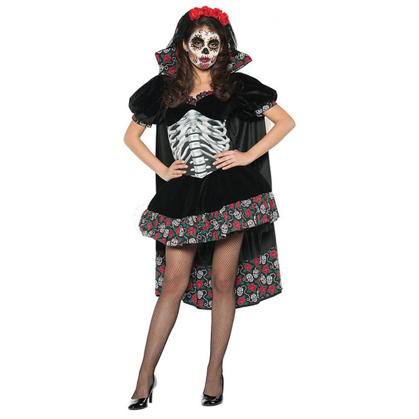 Day of the Dead Senorita Adult Womens Halloween Costume Skull & Red Roses Dress