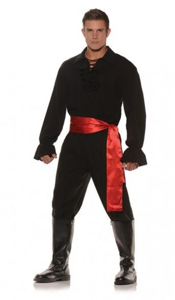 High Seas Bandit Pirate Swashbuckler Mens Adult Costume Black Standard Plus Size