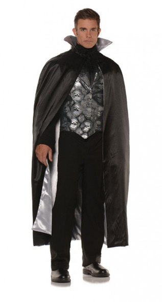 Skull Printed Vest Set Satin Cape Adult Men's Complete Halloween Costume Std-XXL
