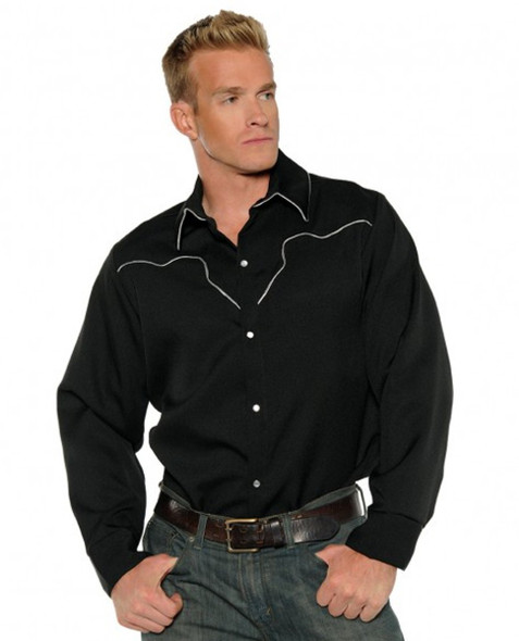 Black Cowboy Western Wild West Rodeo Sheriff Shirt Adult Mens Costume STD-XL-XXL