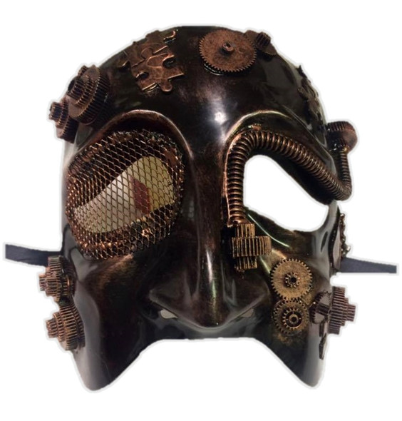 Steampunk Tragedy Theatre Bronze Half Mask Adult Masquerade Costume Accessory
