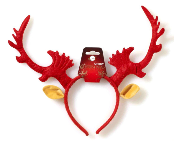 Red Rudolph Reindeer Antlers Headband Christmas Holiday Xmas Costume Accessory