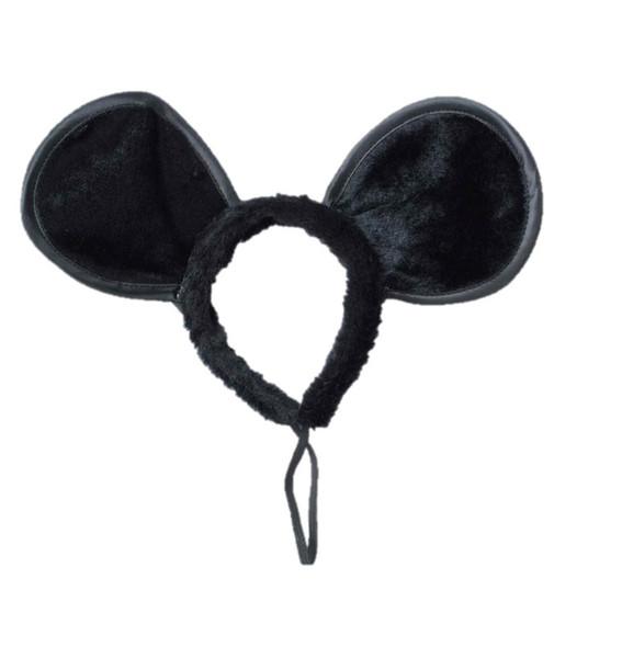 Black Mouse Ears Large Fun Fur Headband Animal Adult Costume Accessory
