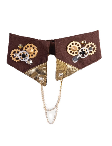 Men's Victorian Steampunk Brown Collar Necklace Adult Costume Accessory