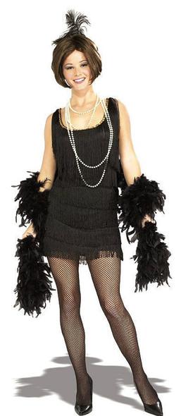 1920s Black Flapper Costume Great Gatsby Women Small Medium Large Fringe Dress