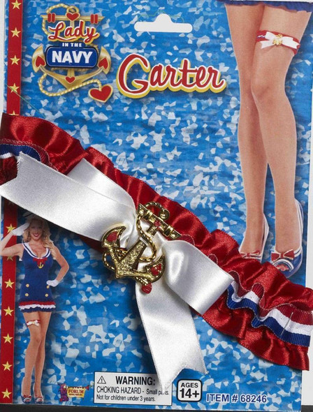 Lady In The Navy Garter Sailor Anchor Red White and Blue Adult Accessory New