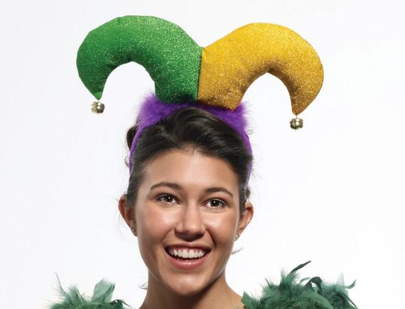 Mardi Gras Mini Jester Hat Headband Purple Glitter Marabou Bells Festival Prop