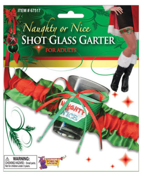 Naughty n Nice Shot Glass with Garter Sexy Christmas Accessory For Adults New