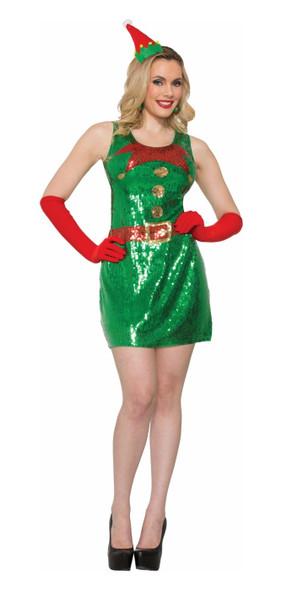 Sexy Elf Dress Sequins Costume Fancy Dress Christmas Adult Womens XS/SM - MD/LG