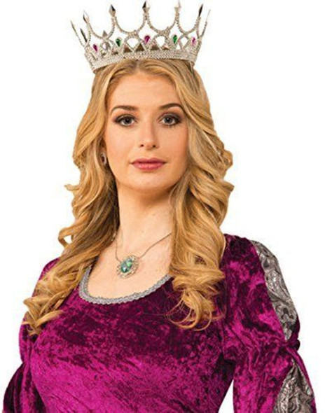 Silver Medieval Royal Queen Plastic Crown Prince Gems Renaissance Adult Princess