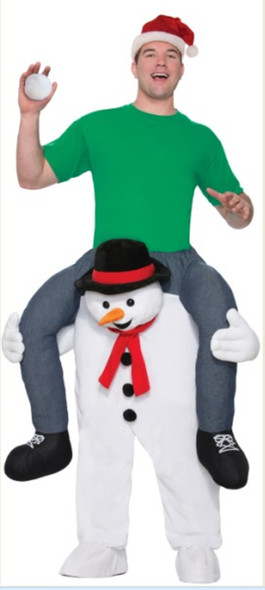 Carry Me Cold Shoulder Snowman Adult Men Women Costume Christmas Ride On A