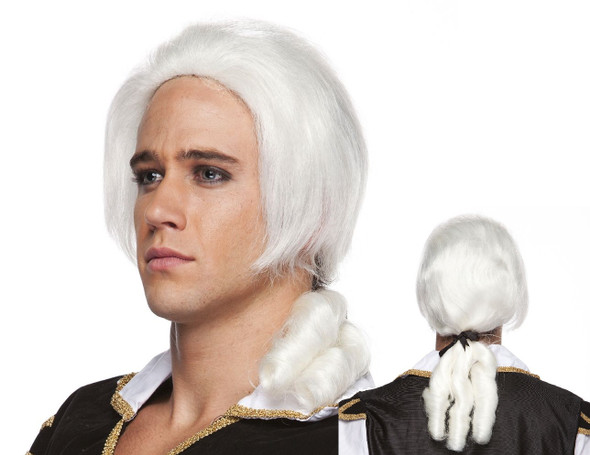 High Quality White Lordship Wig Bow Colonial Barrister Adult Costume Accessory