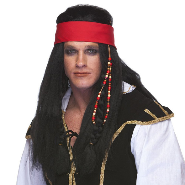 High Quality Black Pirate Wig with Headband Carribean Jack Sparrow Swashbuckler