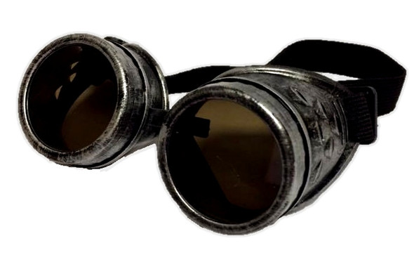 Silver Victorian Steampunk Costume Goggles Glasses Mens Welding Cyber Adult