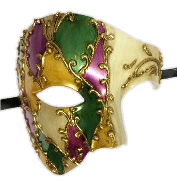 Mardi Gras Venetian Argyle Style Phantom Half Mask Adult Costume Accessory