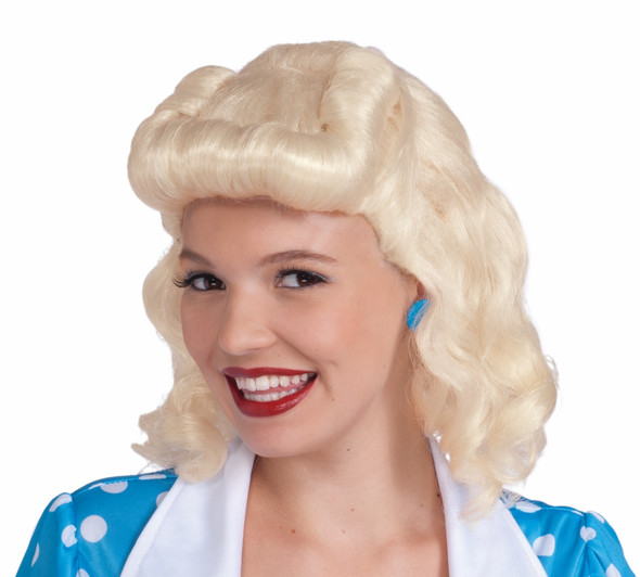 40's Bombshell Lady Blonde Wig 1940's Housewife Retro Costume Accessory Women