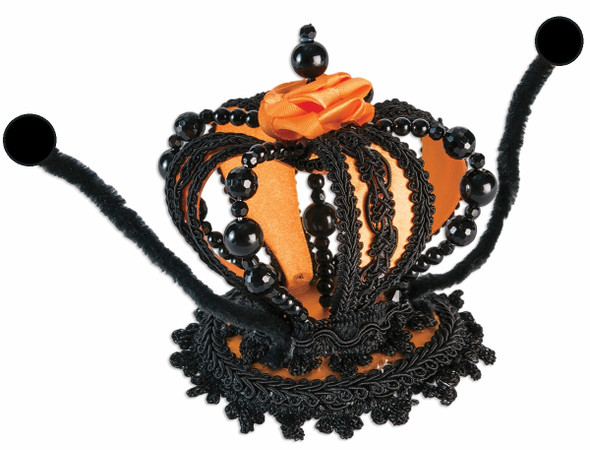 Monarch Butterfly Mini Crown Hat Orange Black Antennae Costume Accessory Beads