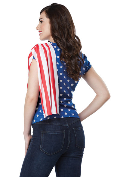 Miss Independence Adult Women's Costume Kit USA American Pride Shirt S M L XL