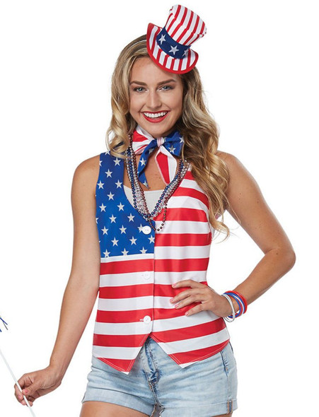 Patriot Lady Kit Adult Costume 4th July American Pride Vest Hat Scarf S/M L/XL