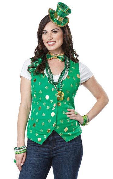 Lucky Lady Kit St. Patricks Day Vest Bow Tie Hat Curly Hair Clips Adult S/M L/XL