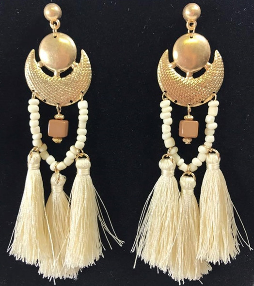"Boho Chic 5"" Statement Tassel Shoulder Sweeper Earrings Ivory Fashion Jewelry"