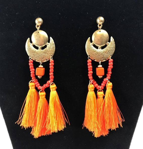 "Boho Chic 5"" Statement Tassel Shoulder Sweeper Earrings Orange Fashion Jewelry"
