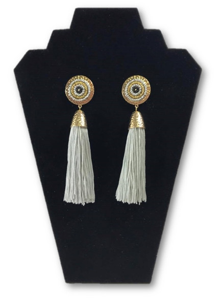 "Boho Chic 6"" Statement Taj Majal Mosaic Bead Grey Tassel Earring Fashion Jewelry"
