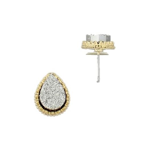Gorgeous Teardrop Druzy Stud Earrings Gold Black Silver Costume Jewelry