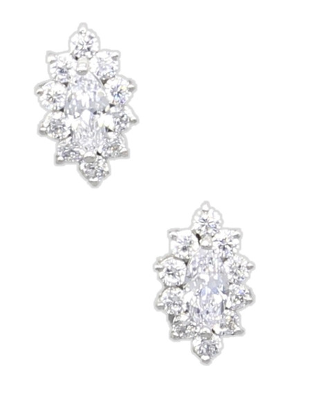 Gorgeous Crystal Gems Stones Stud Earrings Clear Gems Costume Jewelry