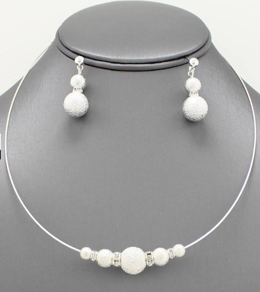 Glitter Beaded Rhinestone Silver Ball Collar Pendant Necklace & Earrings Set