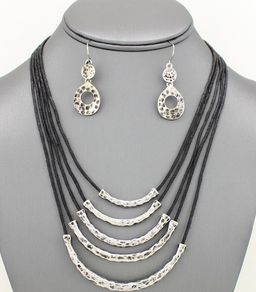 Multi-Strand Metal Tube Layered Necklace & Earrings Set Hammered Antiqued Silver