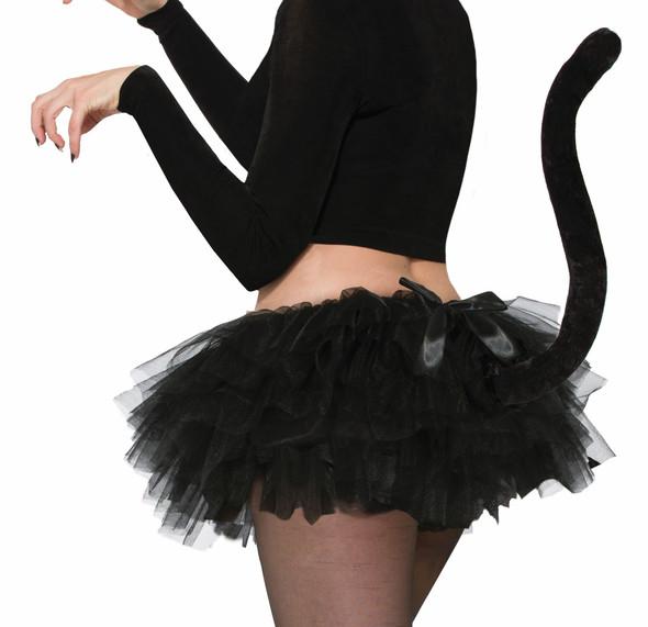 Sexy Black Cat Skirt Crinoline Tutu with Tail Animal Women Costume Accessory
