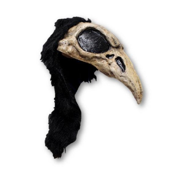 Crow Bird Skull Adult Latex Helmet Warrior Barbarian Raven Black Cosplay Larp