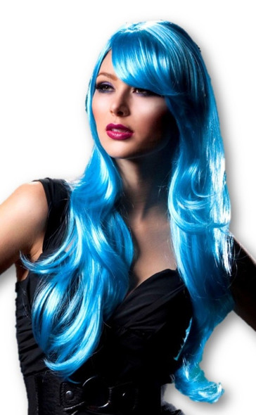 High Quality Blush Carmen Cool Blue Long Anime Fantasy Rave Wavy Costume Wig New