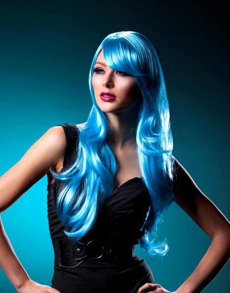 High Quality Blush Carmen Cool Blue Long Anime Fantasy Rave Wavy Costume Wig New