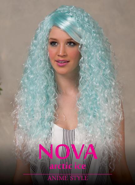 High Quality Blush Nova Artic Blue Long Curly Costume Wig Adult Fantasy Style