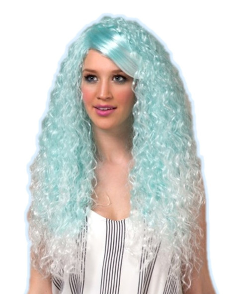 High Quality Blush Nova Artic Blue Long Curly Costume Wig Adult Fantasy Style