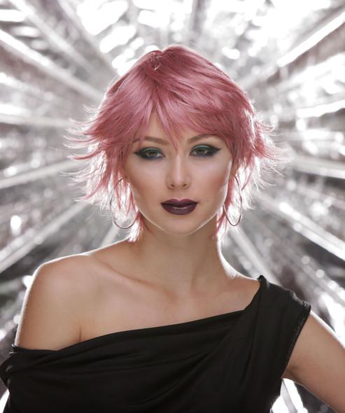 Deluxe Blush Jinx Fantasy Style Short Adult Costume Wig Shaggy Choppy Pink Venom