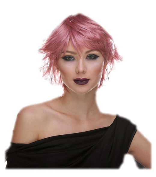 Deluxe Blush Jinx Fantasy Style Short Adult Costume Wig Shaggy Choppy Pink Venom