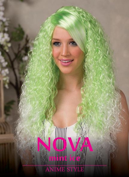 High Quality Blush Nova Green Ice Long Curly Costume Wig Adult Fantasy Style
