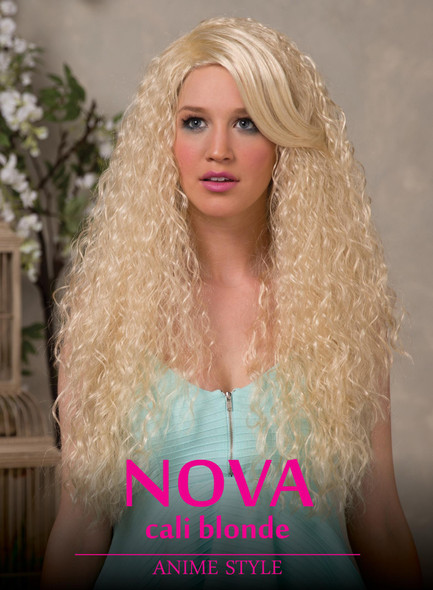 High Quality Blush Nova Cali Blonde Long Curly Costume Wig Adult Fantasy Style