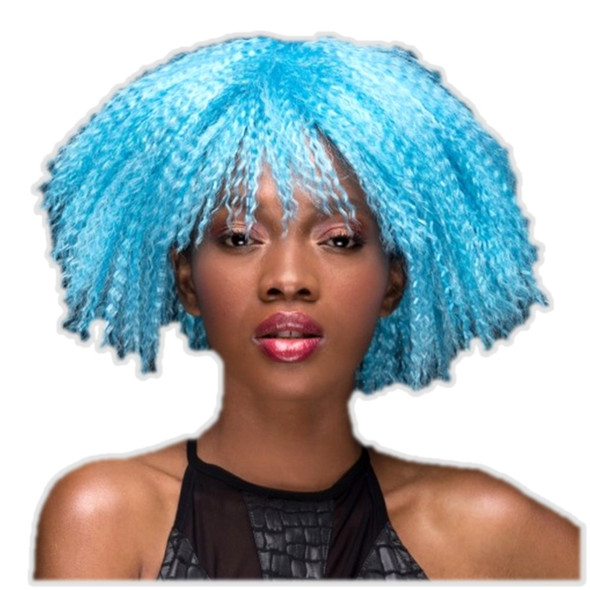 High Quality Blush Zoey Cool Blue Costume Wig Womens Fantasy Style Crimped Hair