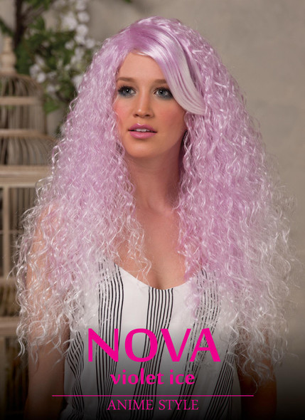 High Quality Blush Nova Violet Ice Long Curly Costume Wig Adult Fantasy Style